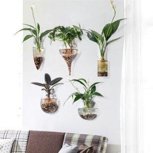 geometric glass wall vase planter