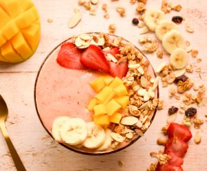 Strawberry Banana Mango Smoothie Bowl
