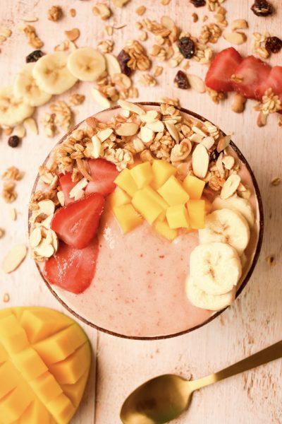 Strawberry Banana Mango Smoothie Bowl