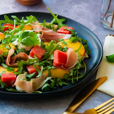 Melon, Peach Salad with Prosciutto