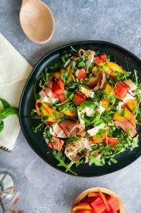 Melon, Peach and Prosciutto Salad