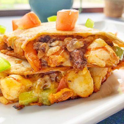 Beef and Shrimp Quesadilla