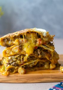 Loaded Quesadilla with Shrimp and Beef