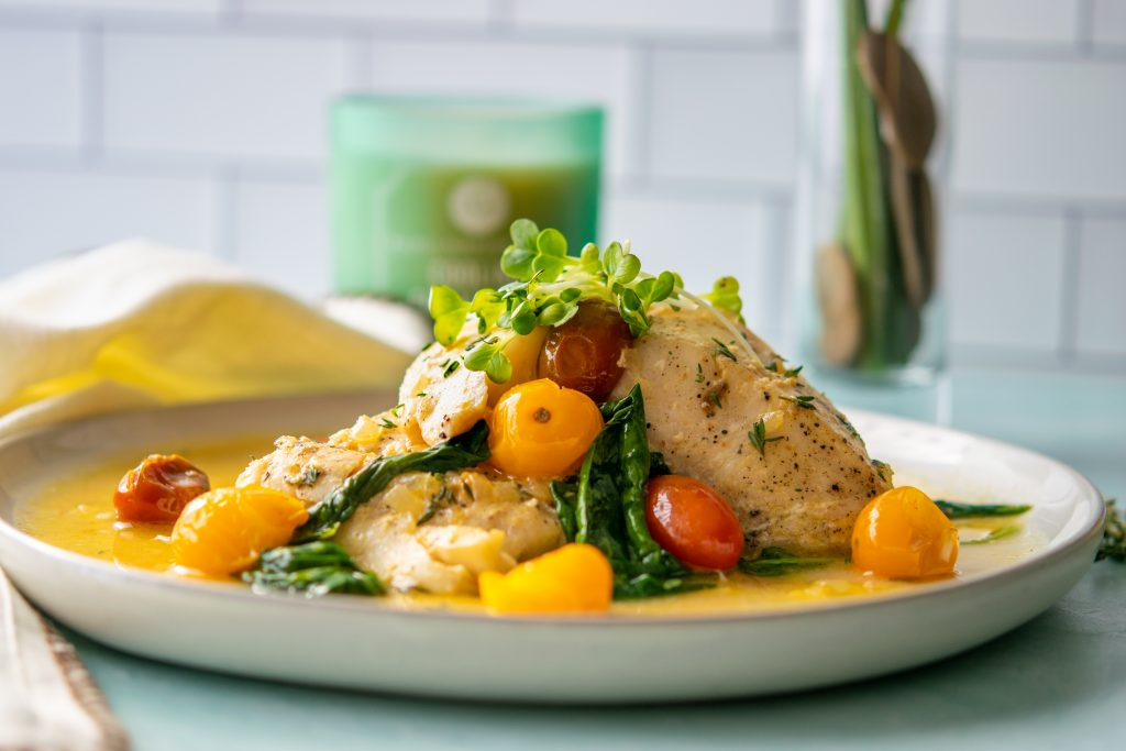 Seared Halibut in Curry Butter Sauce